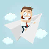 Funny businessman on paper plane. Clipart of a funny businessman on paper plane Stock Photo