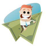 Funny businessman on paper plane Royalty Free Stock Images