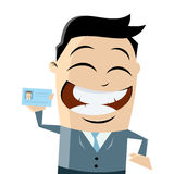 Funny businessman with passport Stock Photos
