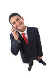 Funny businessman on the phone Stock Images