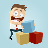 Funny businessman playing with colorful boxes Stock Photos