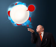 Funny businessman presenting abstract modern speech bubble copy Royalty Free Stock Images
