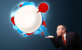 Funny businessman presenting abstract modern speech bubble copy Stock Photo