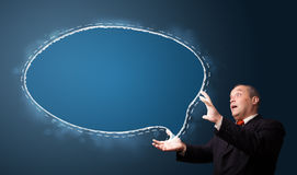 Funny businessman presenting speech bubble copy space Royalty Free Stock Photography