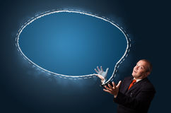 Funny businessman presenting speech bubble copy space Stock Photos