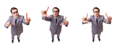 The funny businessman pressing virtual buttons isolated on white Royalty Free Stock Image