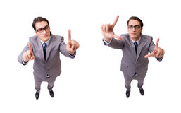 The funny businessman pressing virtual buttons isolated on white Royalty Free Stock Photography