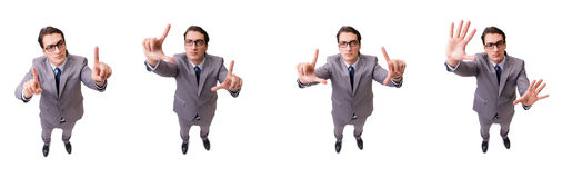 The funny businessman pressing virtual buttons isolated on white Royalty Free Stock Images