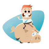Funny businessman riding a piggy bank. Illustration of a funny businessman riding a piggy bank Royalty Free Stock Photos