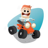 Funny businessman is riding a quad bike Royalty Free Stock Photos