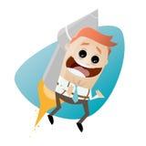 Funny businessman on a rocket. Illustration of a funny businessman on a rocket Royalty Free Stock Image