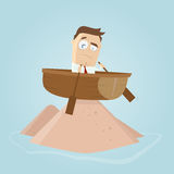 Funny businessman is running aground Stock Image