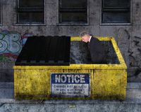 Funny Businessman, Sales, Marketing, Business. A funny businessman is standing in a garbage waste dumpster. Abstract concept for jobs, sales, marketing, success Stock Photos