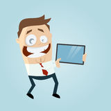 Funny businessman showing something important on the tablet Royalty Free Stock Photography