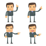 Funny  businessman shows his finger to the side Stock Photo