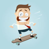 Funny businessman on skateboard Stock Photos
