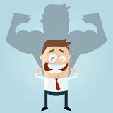 Funny businessman is strong Royalty Free Stock Photography