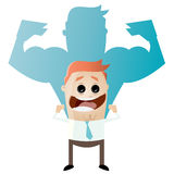 Funny businessman is strong. Funny businessman thinks he is strong Royalty Free Stock Image