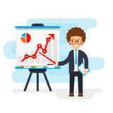 Funny businessman in a suit. Points at graphics on the whiteboard vector flat illustration Stock Photo