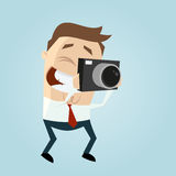 Funny businessman takes a picture Royalty Free Stock Photo