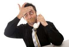 Funny businessman with tape on his mouth Royalty Free Stock Image