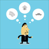 Funny businessman thinking. Vector cartoon funny businessman thinking Stock Photography