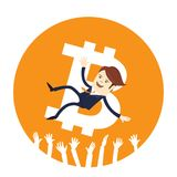 Funny businessman is thrown up air Bitcoin digital currency cryptocurrency. Funny businessman is thrown up air colleagues of Bitcoin bit coin digital currency Stock Photography