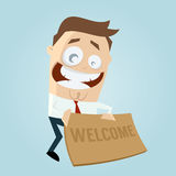 Funny businessman with welcome mat Stock Photos