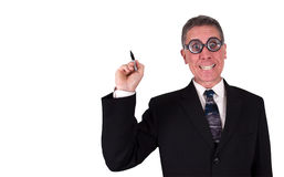 Funny Businessman Write Draw Copy Space. Funny businessman has a smile while writing or drawing your concept in the available copy space. Goofy look makes hime Royalty Free Stock Images