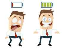 Funny businessmen with batteries over their heads. Illustration of funny businessmen with batteries over their heads Royalty Free Stock Image