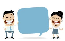 Funny businessteam holding speech balloon. Clipart stock illustration