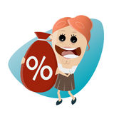 Funny businesswoman with big discount bag Royalty Free Stock Image