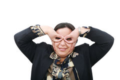 Funny businesswoman, with big eyes Royalty Free Stock Photo