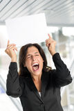 Funny businesswoman with blank banner. royalty free stock image