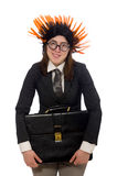 Funny businesswoman in business concept on white Stock Image