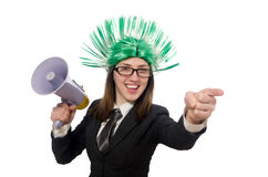 Funny businesswoman in business concept on white Royalty Free Stock Photography