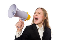 Funny businesswoman in business concept on white Royalty Free Stock Photos