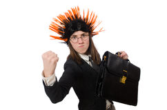 The funny businesswoman in business concept on white Royalty Free Stock Photo