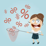 Funny businesswoman catching percent signs Stock Images