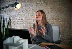 Funny businesswoman chat pencil mustache Stock Photo