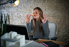 Funny businesswoman chat pencil mustache Royalty Free Stock Photo