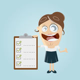 Funny businesswoman with checklist. Illustration of a funny businesswoman with checklist Royalty Free Stock Photos