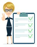 Funny businesswoman with checklist. Stock vector illustration Stock Photos