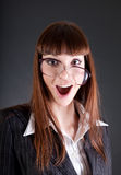 Funny Businesswoman In Old Fashioned Glasses Royalty Free Stock Images