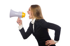 Funny businesswoman isolated on white Royalty Free Stock Images