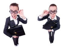 The funny businesswoman isolated on white Stock Images