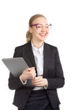 Funny Businesswoman With Laptop Laughing Stock Photo