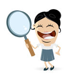 Funny businesswoman with magnifying glass. Illustration of a funny businesswoman with magnifying glass Stock Photos