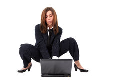 Funny businesswoman with PC Royalty Free Stock Image