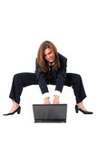 Funny businesswoman with PC Royalty Free Stock Photos